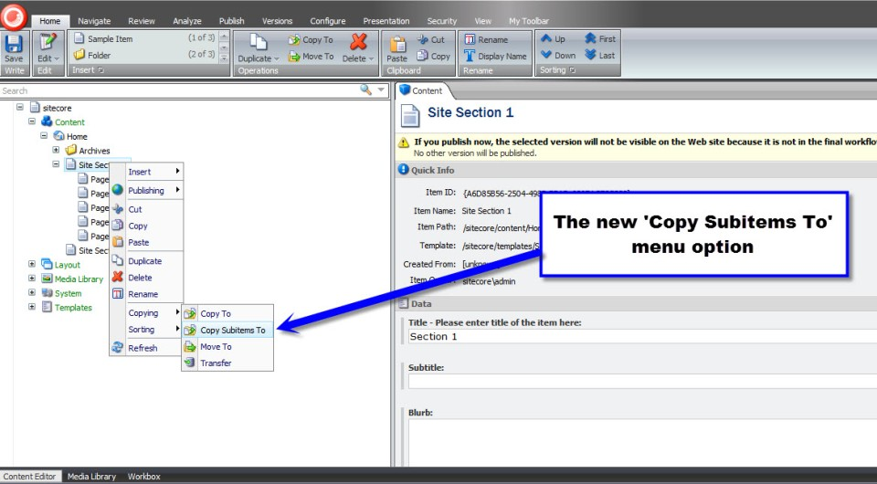 'Copy Subitems To Context Menu