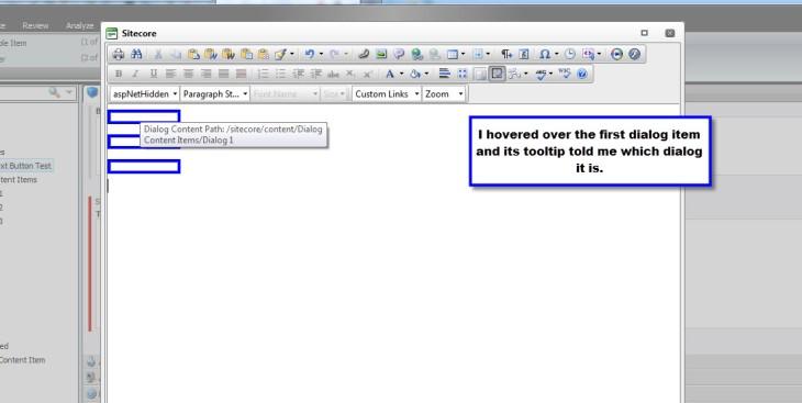 Inserted Three Dialogs WYSIWYG Hover