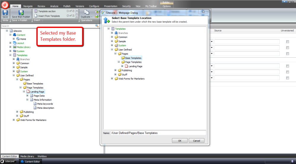 Reuse Sitecore Data Template Fields by Pulling Them Up Into a Base Template (5/6)