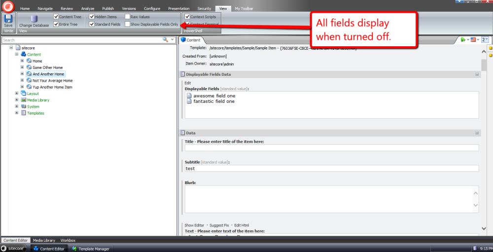 Choose Template Fields to Display in the Sitecore Content Editor (6/6)