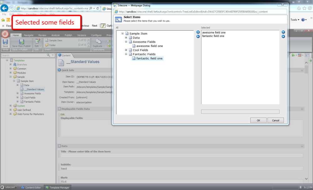 Choose Template Fields to Display in the Sitecore Content Editor (4/6)