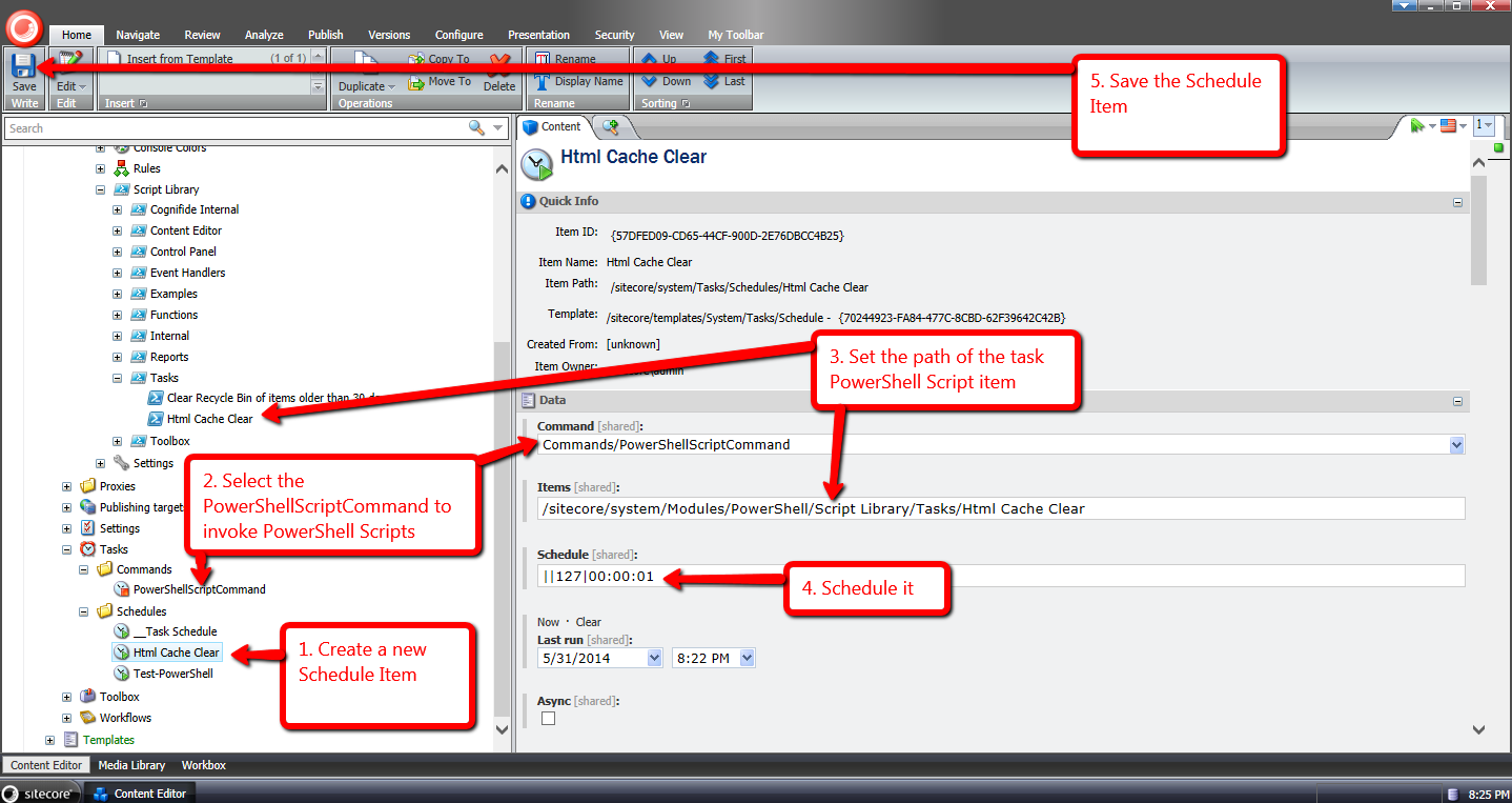 Execute PowerShell Scripts in Scheduled Tasks using Sitecore