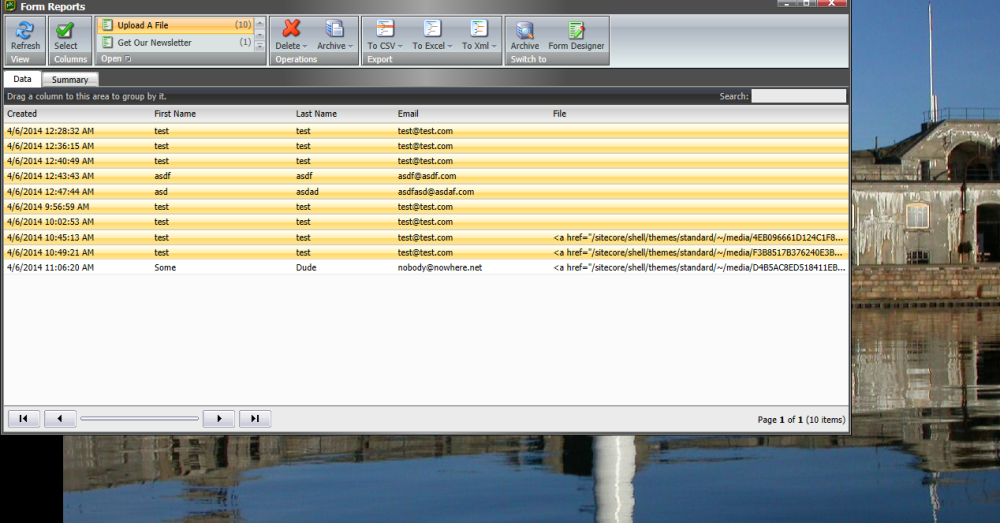 Export to CSV in the Form Reports of Sitecore's Web Forms for Marketers (3/5)