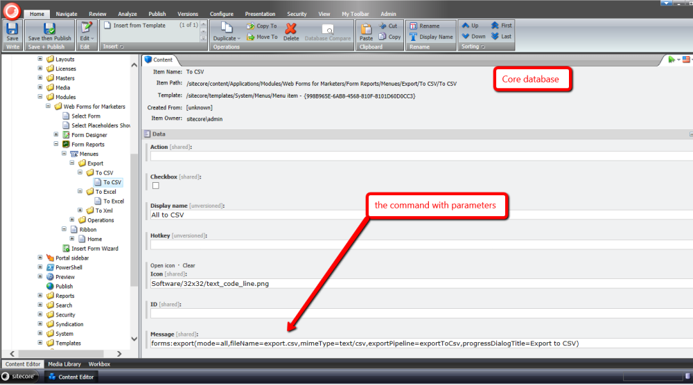 Export to CSV in the Form Reports of Sitecore's Web Forms for Marketers (1/5)