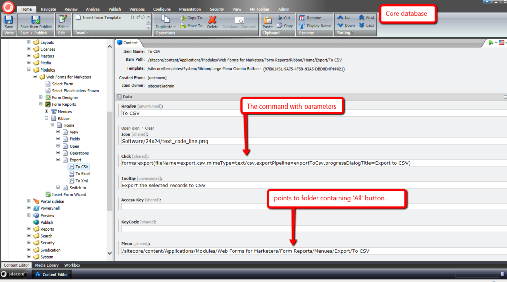 Export to CSV in the Form Reports of Sitecore's Web Forms for Marketers (2/5)
