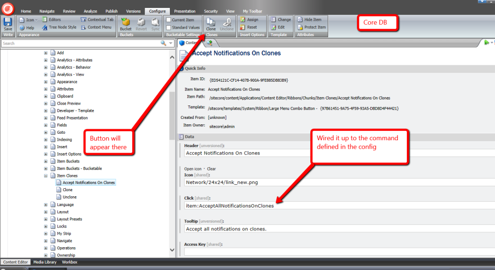 Accept All Notifications on Clones of an Item using a Custom Command in Sitecore (1/6)
